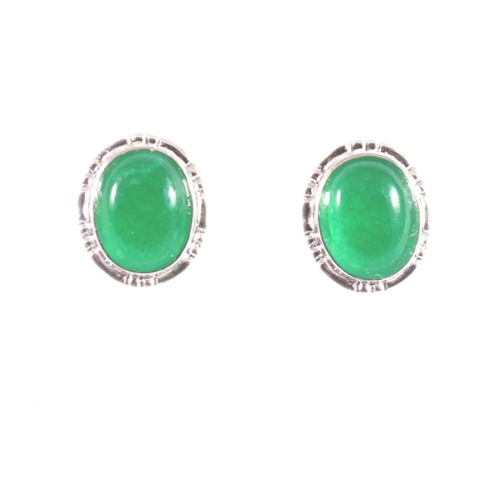 Charm School Uk Sterling Silver Earrings Green Jade Stud